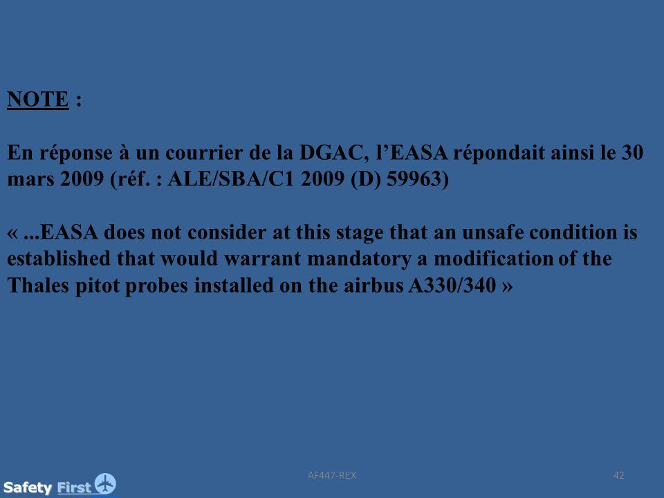 NOTE : En réponse à un courrier de la DGAC, l'EASA répondait ainsi le 30 mars 2009 (réf. : ALE/SBA/C1 2009 (D) 59963)