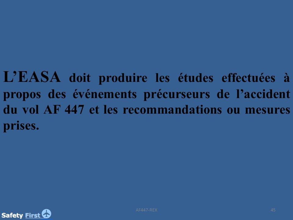 L'EASA doit produire les études effectuées à propos des événements précurseurs de l'accident du vol AF 447 et les recommandations ou mesures prises.