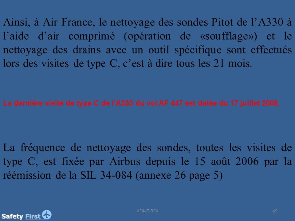 Ainsi, à Air France, le nettoyage des sondes Pitot de l'A330 à l'aide d'air comprimé (opération de «soufflage») et le nettoyage des drains avec un outil spécifique sont effectués lors des visites de type C, c'est à dire tous les 21 mois.