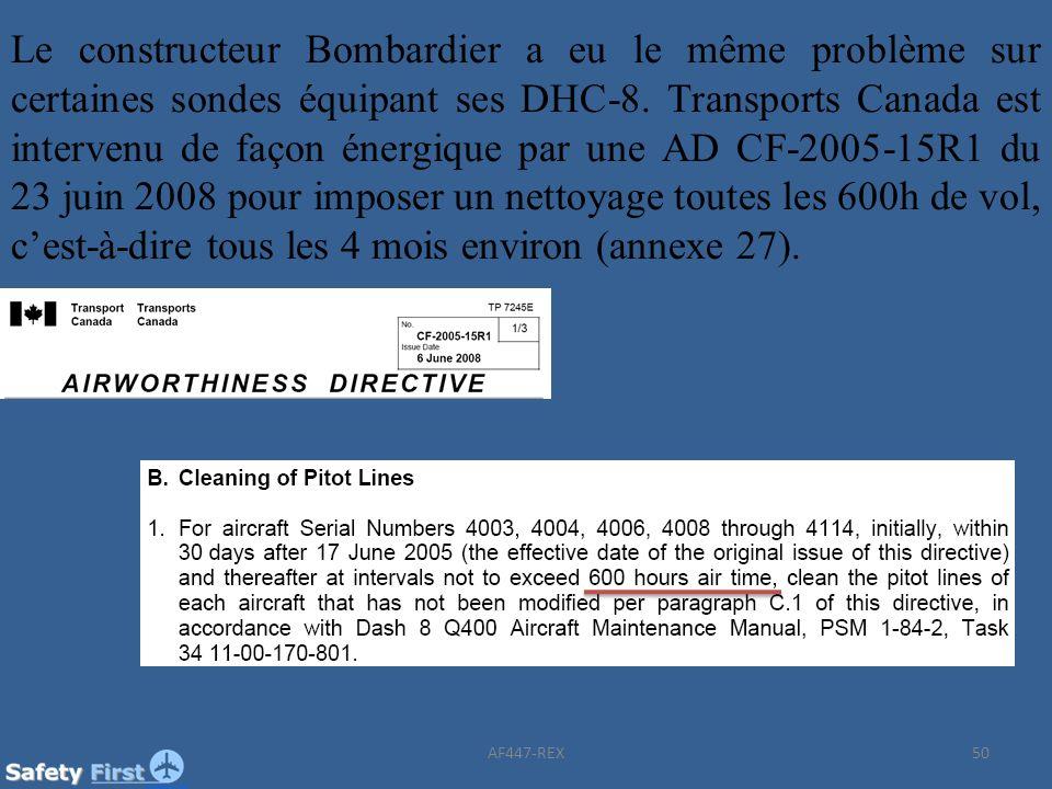 Le constructeur Bombardier a eu le même problème sur certaines sondes équipant ses DHC-8. Transports Canada est intervenu de façon énergique par une AD CF-2005-15R1 du 23 juin 2008 pour imposer un nettoyage toutes les 600h de vol, c'est-à-dire tous les 4 mois environ (annexe 27).