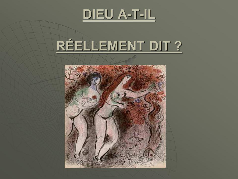 DIEU A-T-IL RÉELLEMENT DIT