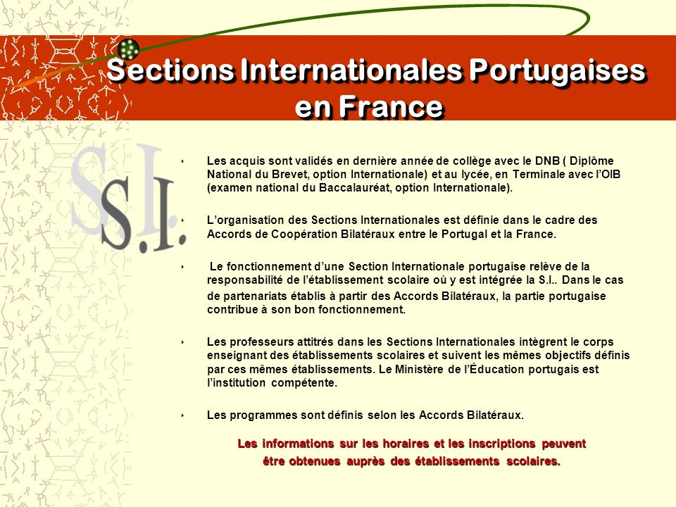 Sections Internationales Portugaises en France