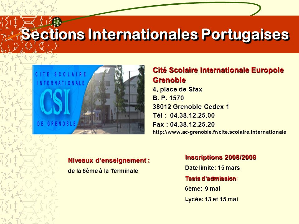 Sections Internationales Portugaises