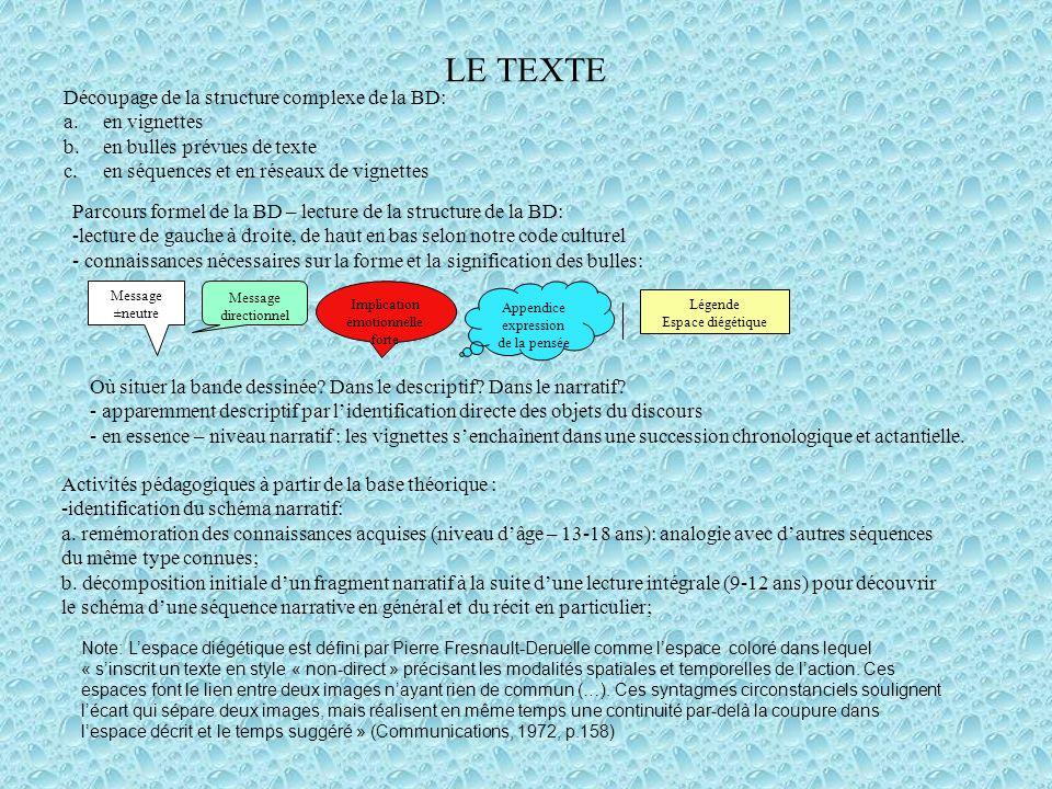LE TEXTE Découpage de la structure complexe de la BD: en vignettes