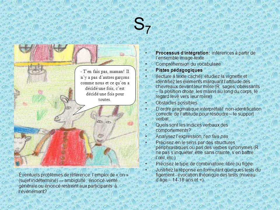 S7 Processus d'intégration: inférences à partir de l'ensemble image-texte. Compréhension du vocabulaire.