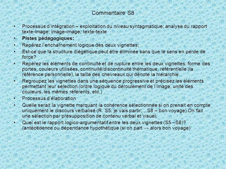 Commentaire S8 Processus d'intégration – exploitation du niveau syntagmatique; analyse du rapport texte-image; image-image; texte-texte.
