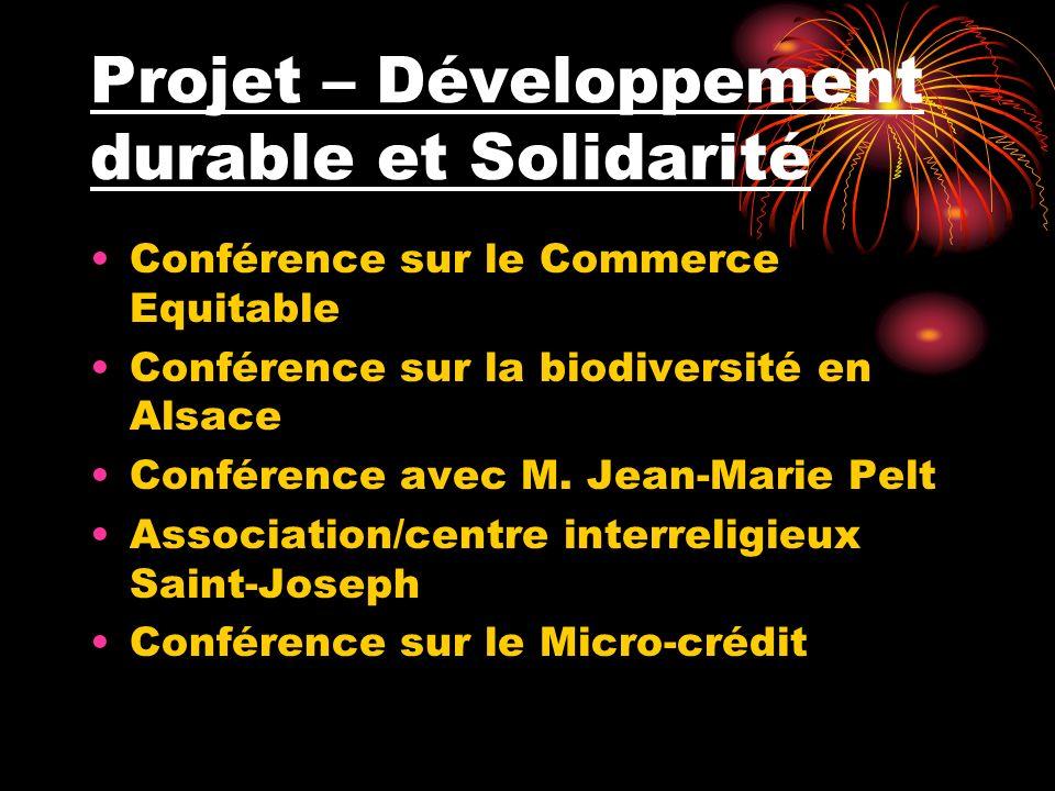 Projet – Développement durable et Solidarité