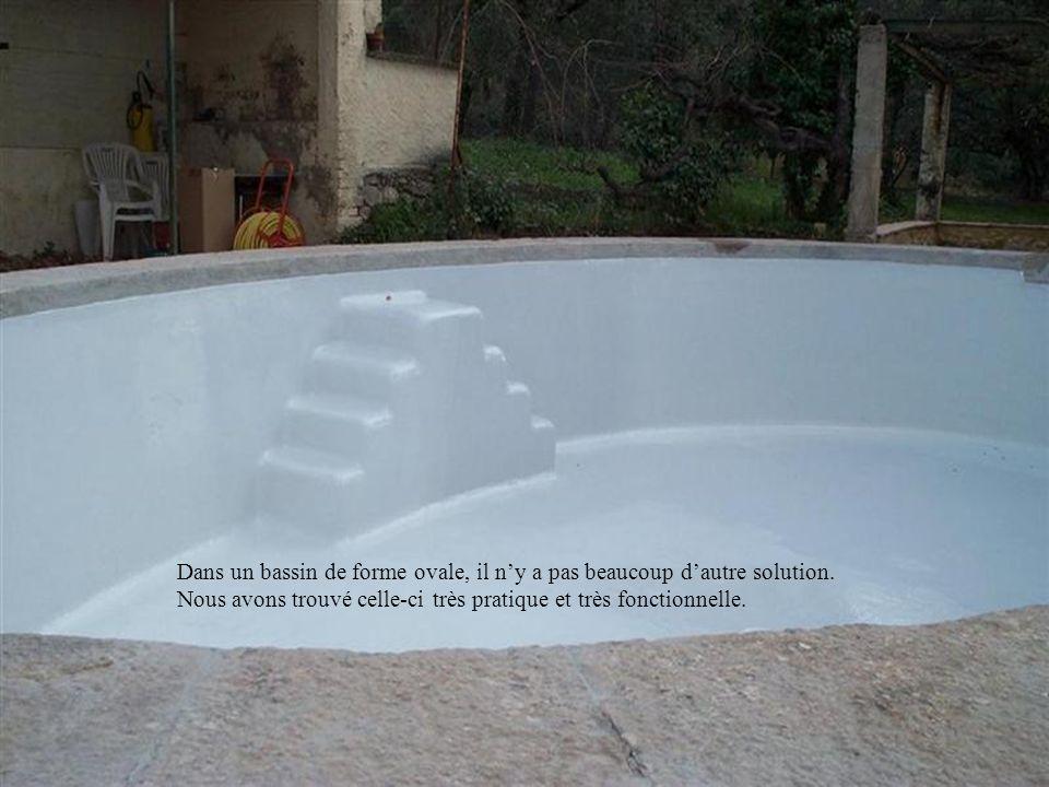 Dans un bassin de forme ovale, il n'y a pas beaucoup d'autre solution