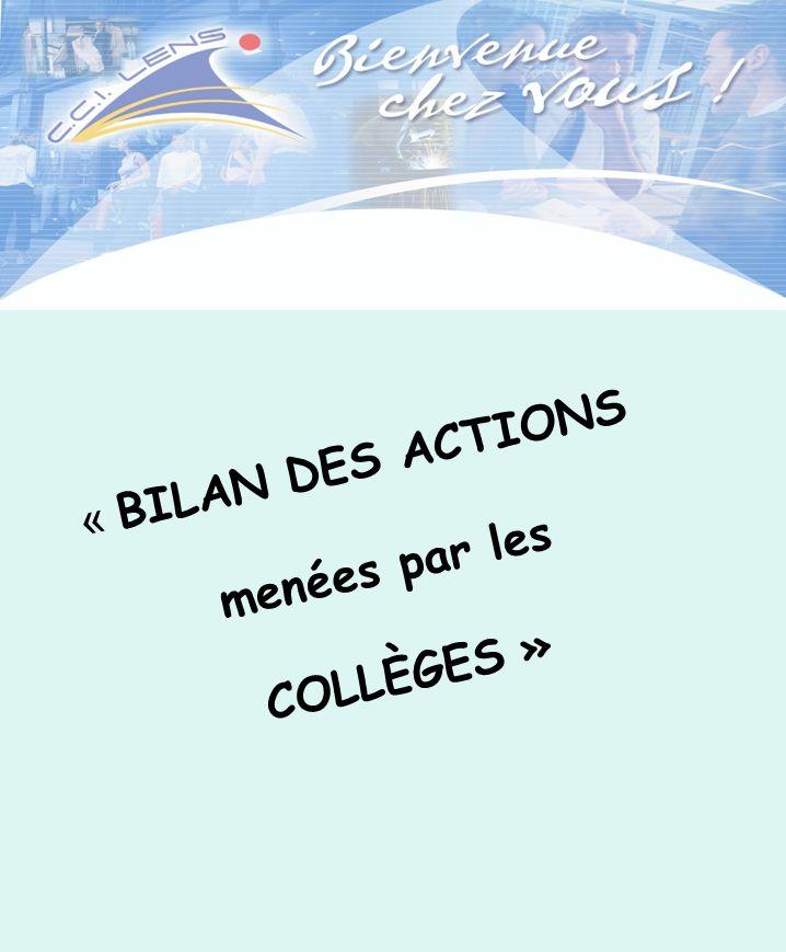 « BILAN DES ACTIONS menées par les COLLÈGES »
