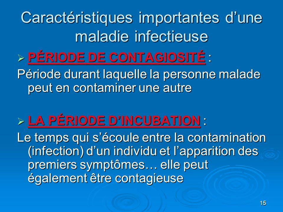 Caractéristiques importantes d'une maladie infectieuse