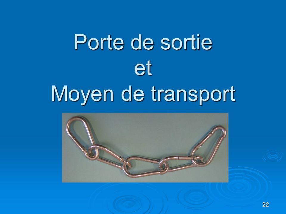 Porte de sortie et Moyen de transport