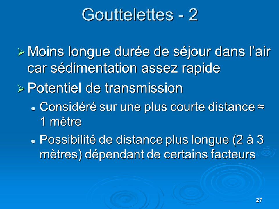 Gouttelettes - 2 Moins longue durée de séjour dans l'air car sédimentation assez rapide. Potentiel de transmission.