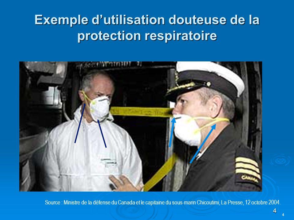 Exemple d'utilisation douteuse de la protection respiratoire