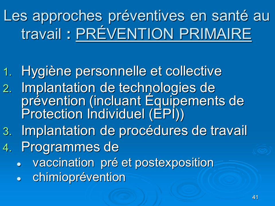 Les approches préventives en santé au travail : PRÉVENTION PRIMAIRE