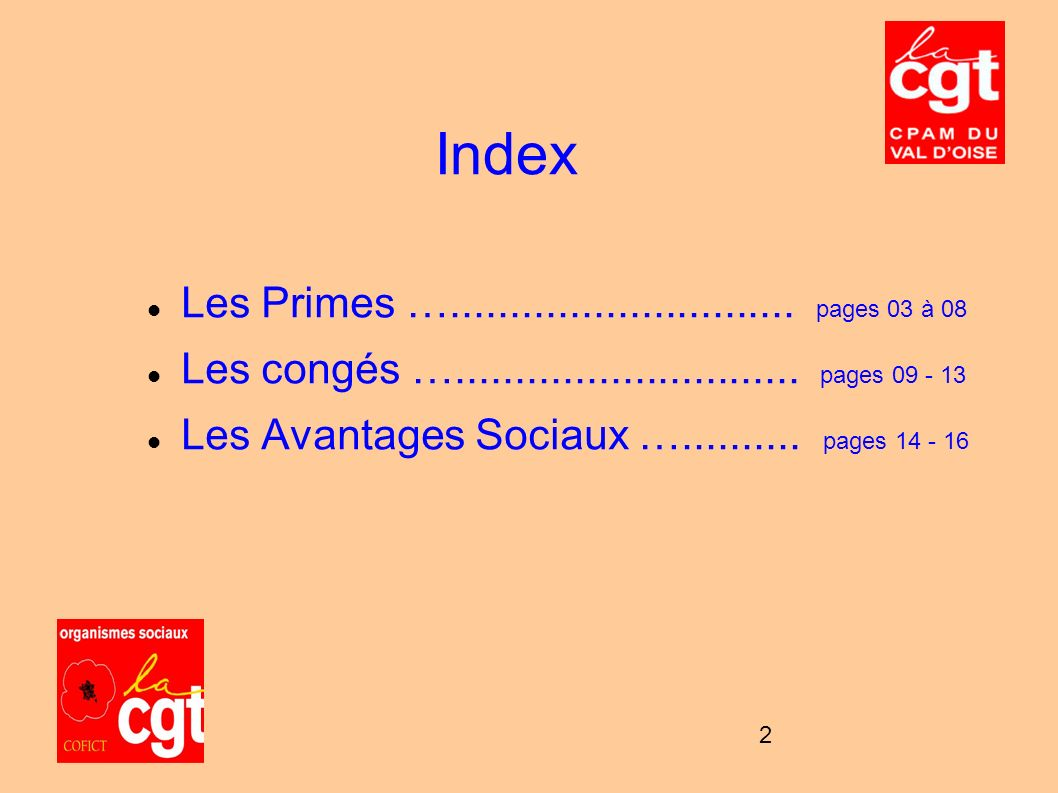Index Les Primes …............................. pages 03 à 08
