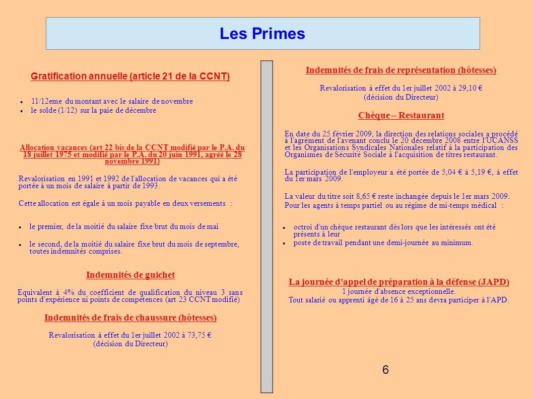 Les Primes Gratification annuelle (article 21 de la CCNT)