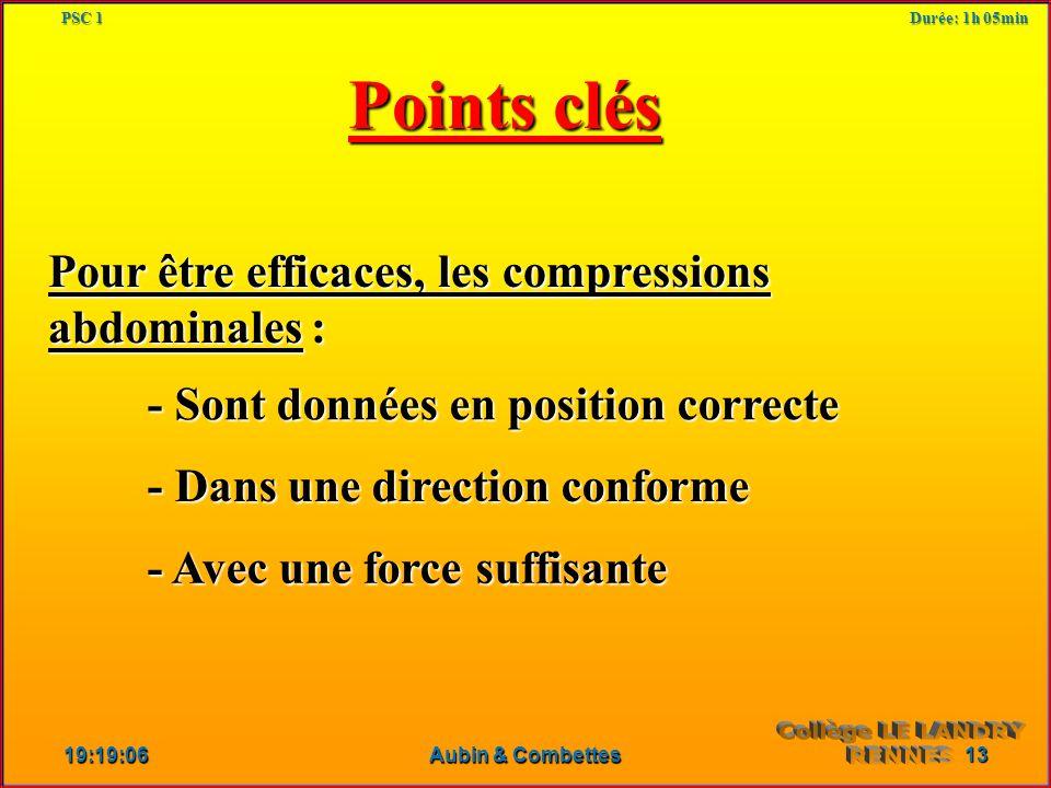 Points clés Pour être efficaces, les compressions abdominales :
