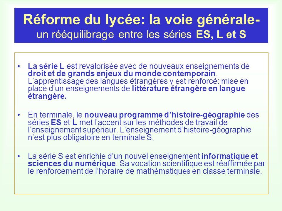 Réforme du lycée: la voie générale- un rééquilibrage entre les séries ES, L et S