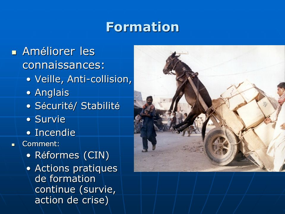 Formation Améliorer les connaissances: Veille, Anti-collision, Anglais