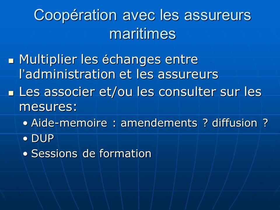 Coopération avec les assureurs maritimes