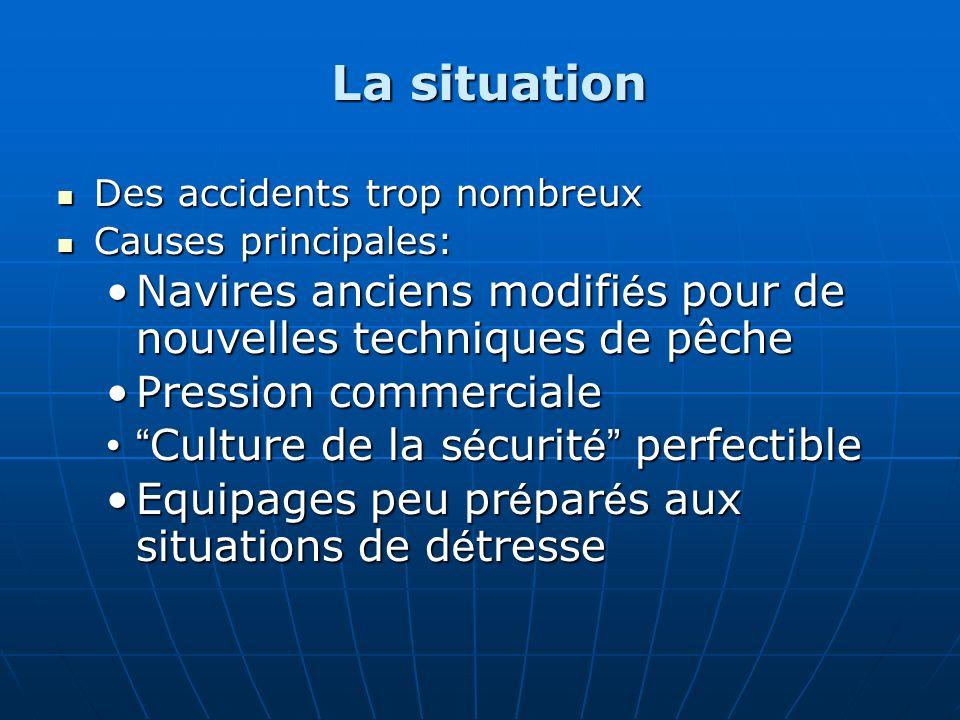 La situation Des accidents trop nombreux. Causes principales: Navires anciens modifiés pour de nouvelles techniques de pêche.
