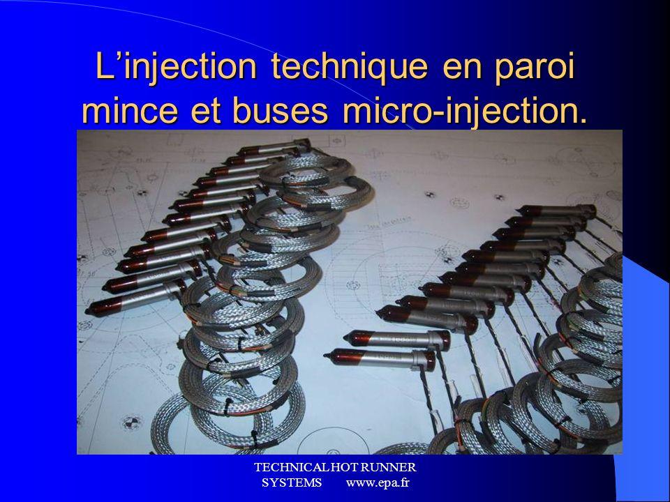 L'injection technique en paroi mince et buses micro-injection.