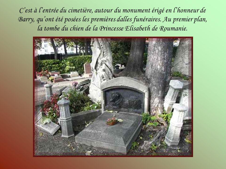 C'est à l'entrée du cimetière, autour du monument érigé en l'honneur de Barry, qu'ont été posées les premières dalles funéraires.