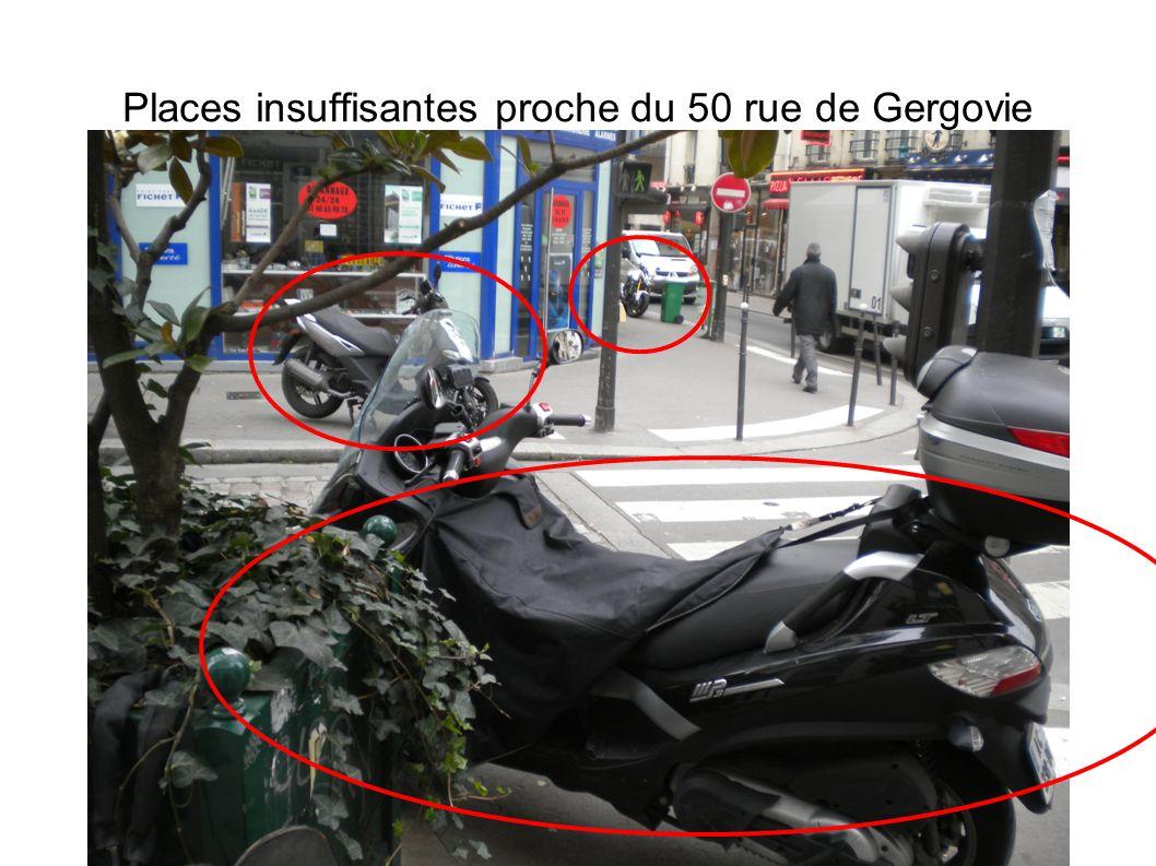 Places insuffisantes proche du 50 rue de Gergovie