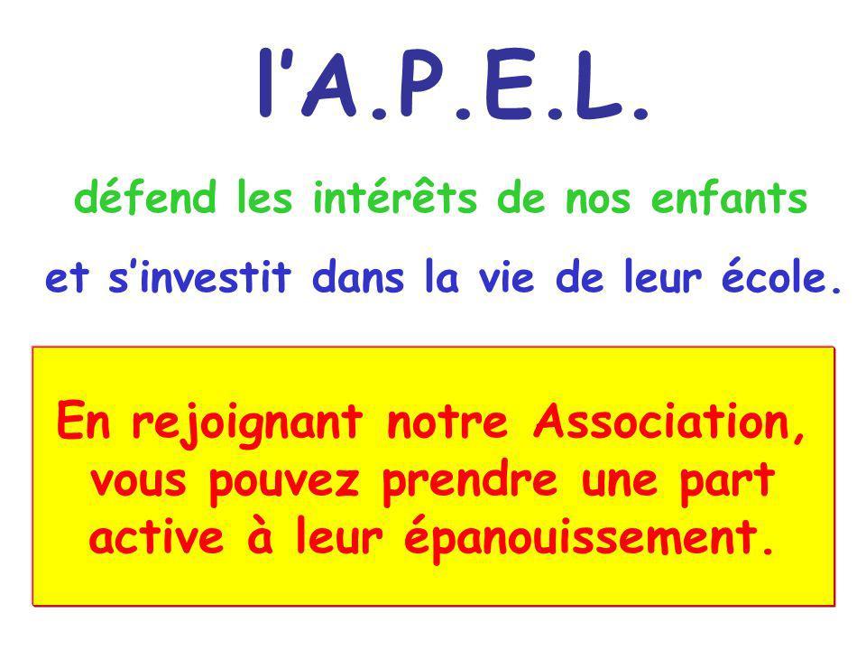 l'A.P.E.L. défend les intérêts de nos enfants. et s'investit dans la vie de leur école.