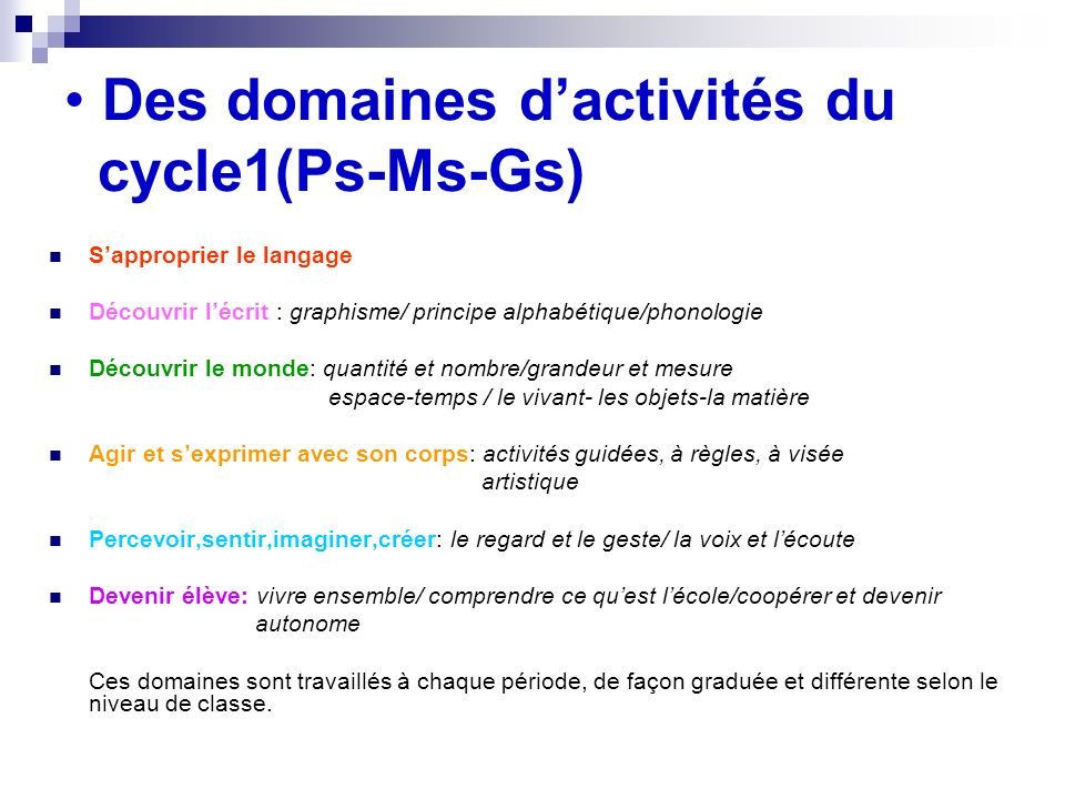 Des domaines d'activités du cycle1(Ps-Ms-Gs)