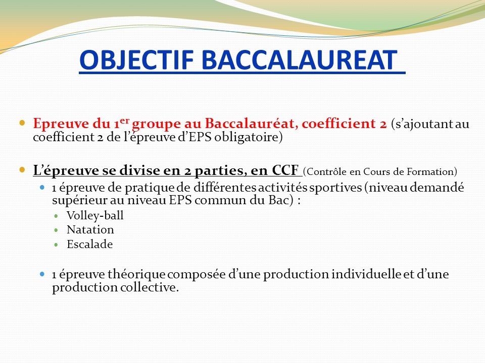OBJECTIF BACCALAUREAT