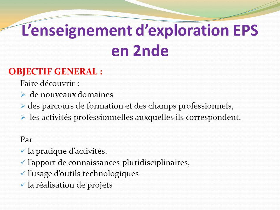 L'enseignement d'exploration EPS en 2nde
