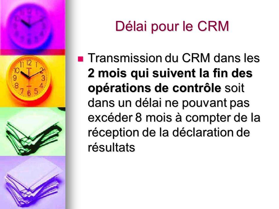 Délai pour le CRM