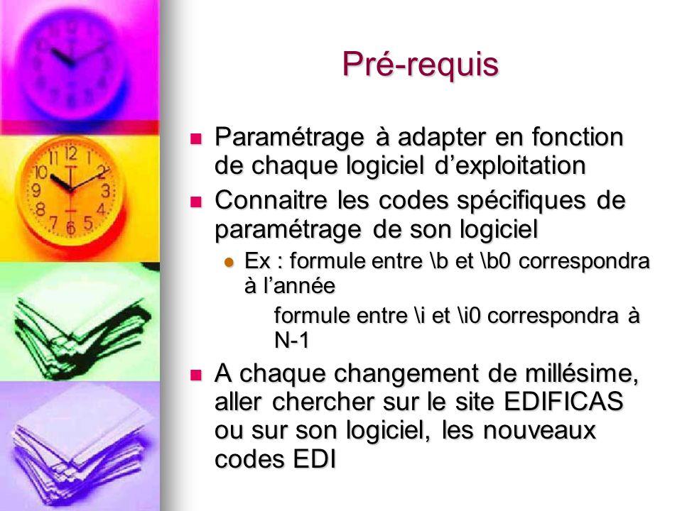 Pré-requis Paramétrage à adapter en fonction de chaque logiciel d'exploitation. Connaitre les codes spécifiques de paramétrage de son logiciel.