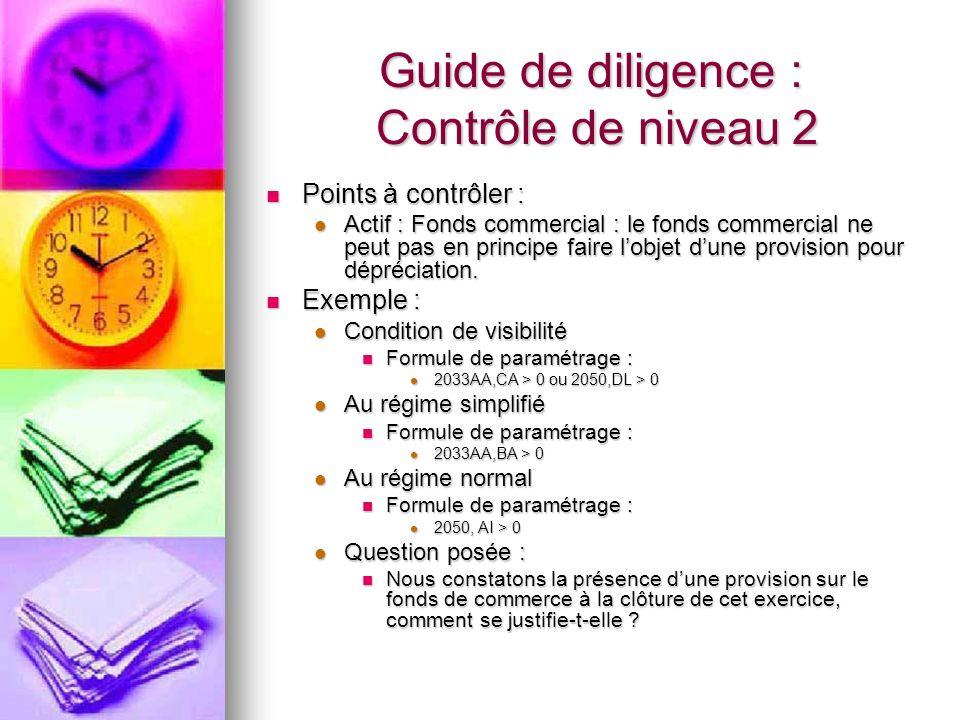 Guide de diligence : Contrôle de niveau 2