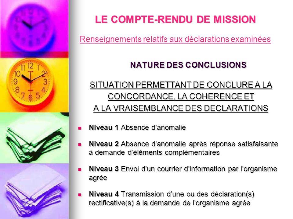 LE COMPTE-RENDU DE MISSION NATURE DES CONCLUSIONS