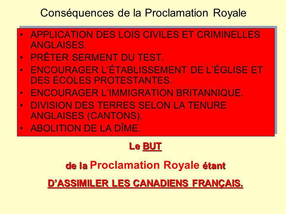 Conséquences de la Proclamation Royale