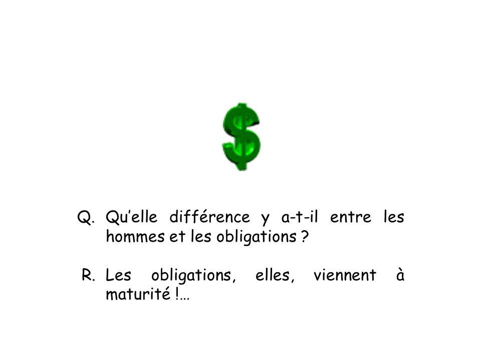 Q. Qu'elle différence y a-t-il entre les hommes et les obligations