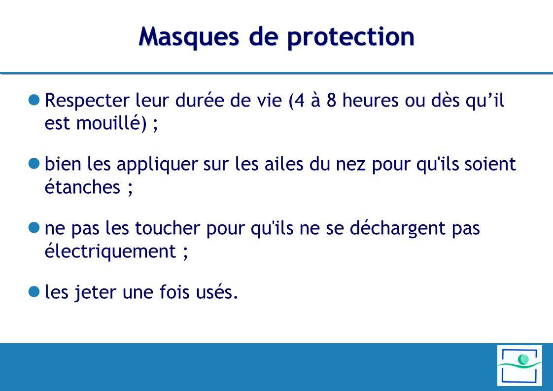 Masques de protection Respecter leur durée de vie (4 à 8 heures ou dès qu'il est mouillé) ;