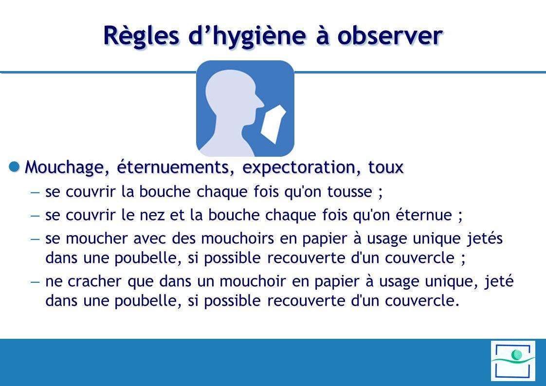 Règles d'hygiène à observer