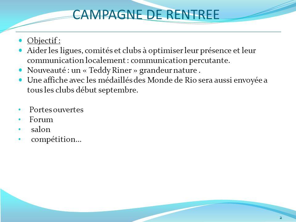 CAMPAGNE DE RENTREE Objectif :