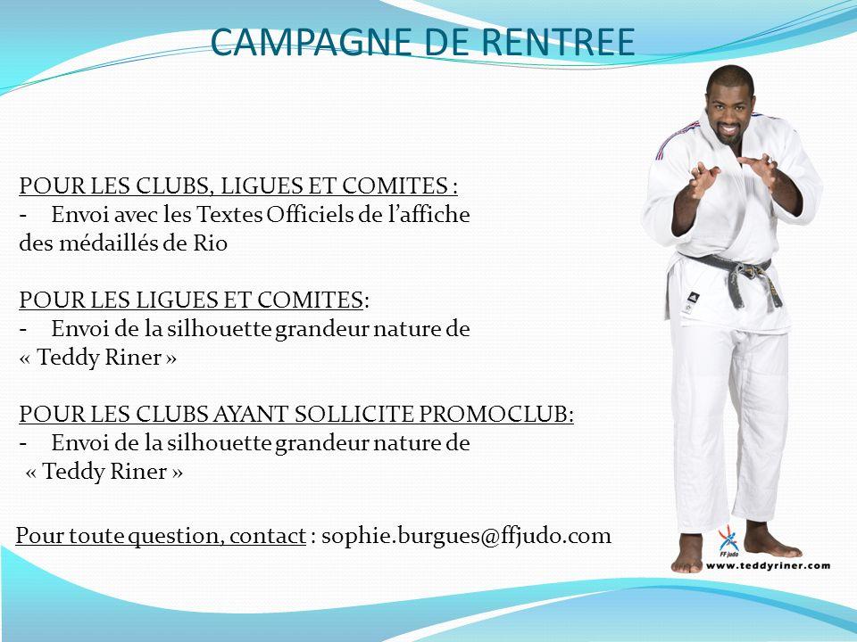 CAMPAGNE DE RENTREE POUR LES CLUBS, LIGUES ET COMITES :