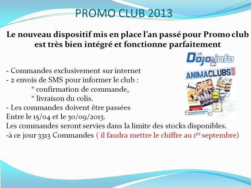 PROMO CLUB 2013 Le nouveau dispositif mis en place l'an passé pour Promo club est très bien intégré et fonctionne parfaitement.