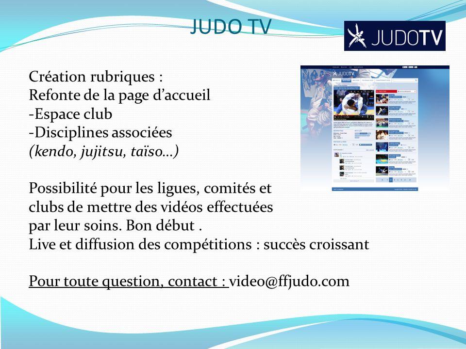 JUDO TV Création rubriques : Refonte de la page d'accueil Espace club