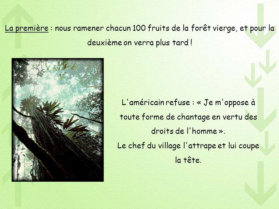 La première : nous ramener chacun 100 fruits de la forêt vierge, et pour la deuxième on verra plus tard !