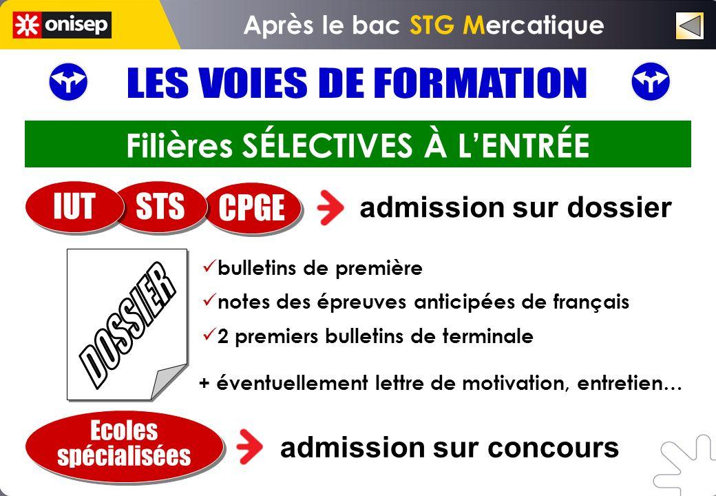 Après le bac STG Mercatique Filières SÉLECTIVES À L'ENTRÉE