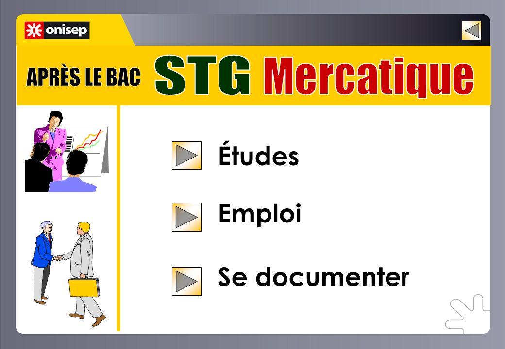 STG Mercatique APRÈS LE BAC Études Emploi Se documenter