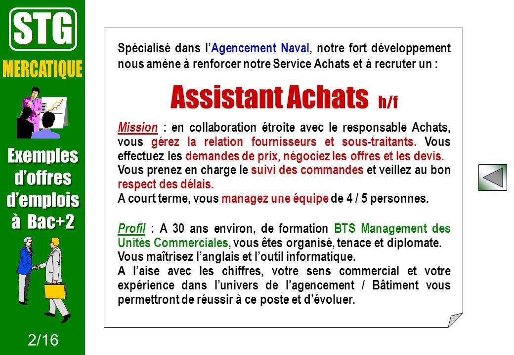 STG Assistant Achats h/f MERCATIQUE Exemples d'offres d'emplois