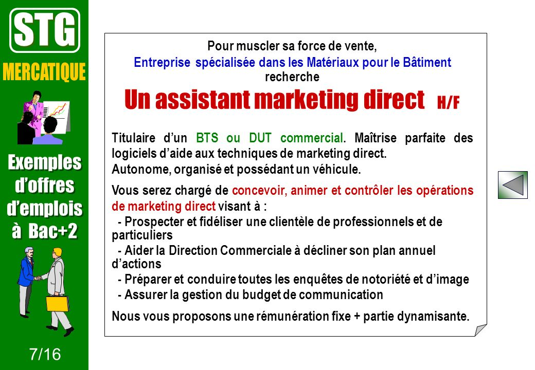 STG MERCATIQUE Un assistant marketing direct H/F Exemples d'offres