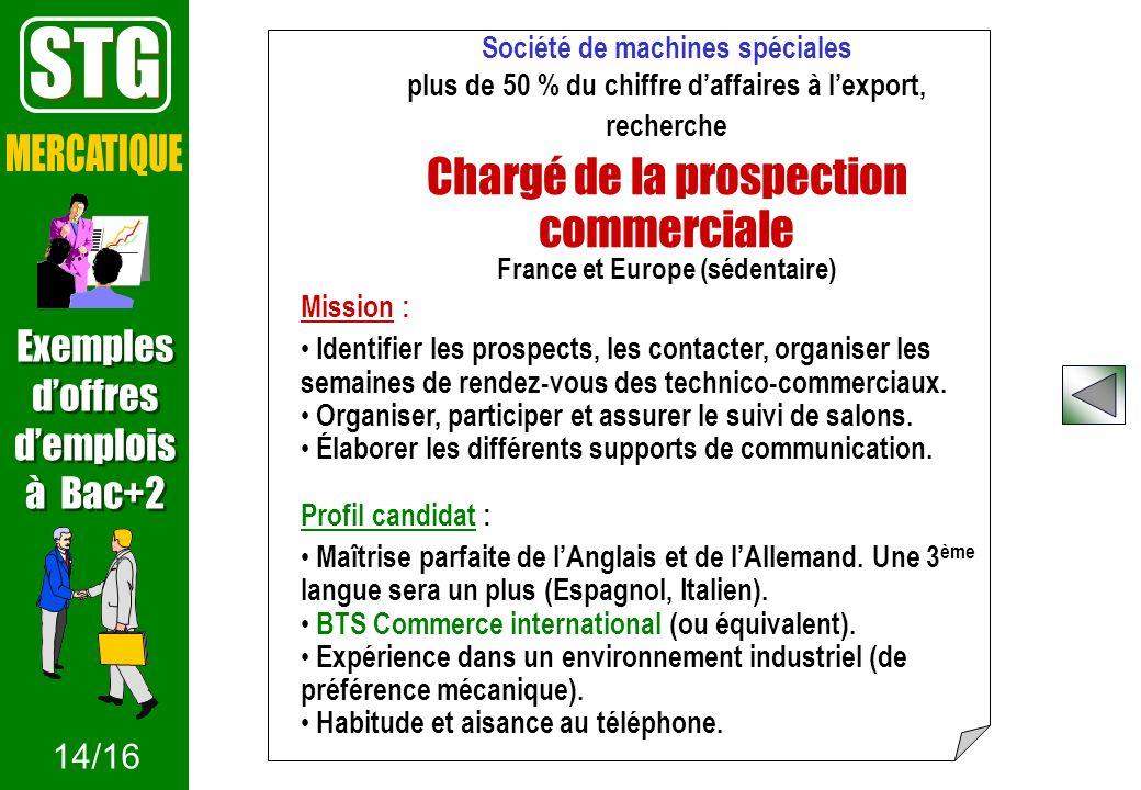 STG MERCATIQUE Chargé de la prospection commerciale Exemples d'offres